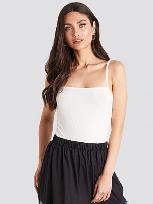 NA-KD Trend Straight Neckline Ribbed Top vit