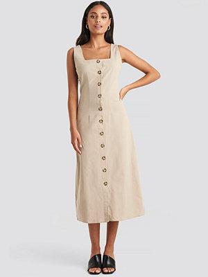 Trendyol Yol Buttoned Midi Dress beige