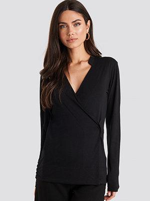 NA-KD Wrap Jersey Long Sleeve Top svart