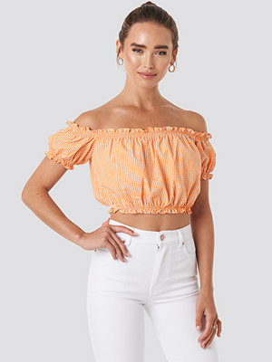 Trendyol Gingham Frilly Crop Blouse orange