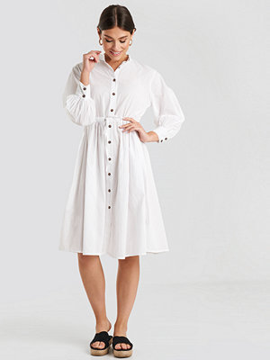 NA-KD Boho Drawstring Buttoned Shirt Dress vit