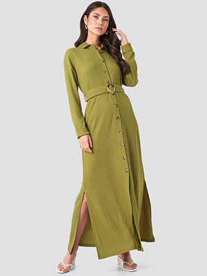 NA-KD Belted Shirt Maxi Dress grön