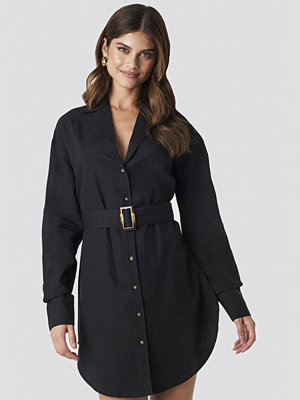 Hannalicious x NA-KD Belted Oversized Linen Look Shirt Dress svart