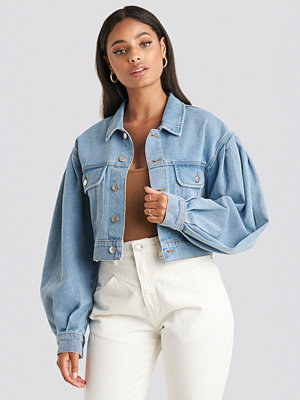 NA-KD Trend Puff Sleeve Oversized Denim Jacket blå