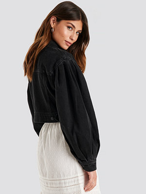 NA-KD Trend Puff Sleeve Oversized Denim Jacket svart
