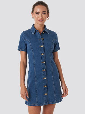 NA-KD Button Up Denim Mini Dress blå