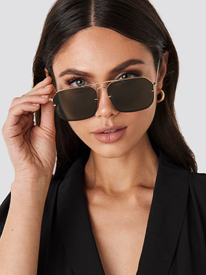 Solglasögon - NA-KD Accessories Squared Wire Frame Sunglasses grön