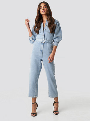 NA-KD Trend Puff Sleeve Jumpsuit blå