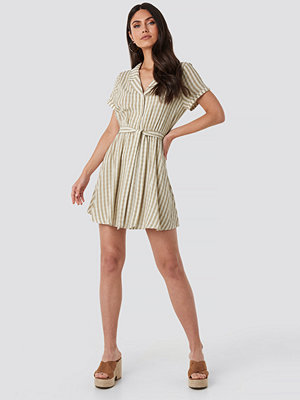 NA-KD Boho Collar Stripe Shirt Dress beige