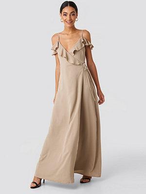 Glamorous Frill Strap Maxi Dress beige