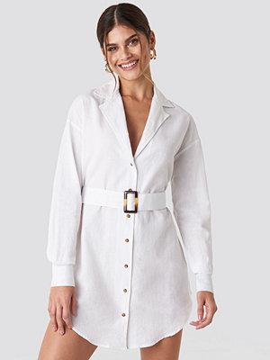 Hannalicious x NA-KD Belted Oversized Linen Look Shirt Dress vit