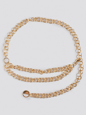 NA-KD Accessories Slim Links Chain Belt guld