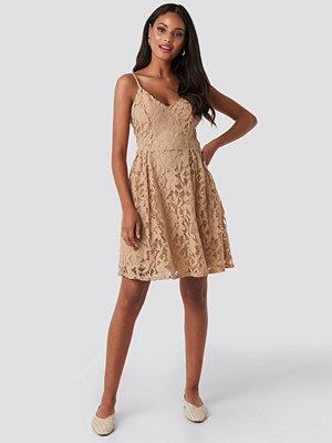 NA-KD Boho Lace Strap Mini Dress beige