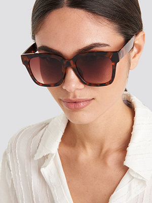 NA-KD Accessories Big Rounded Edge Sunglasses brun