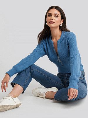 NA-KD Zipper Front Knitted Sweater blå