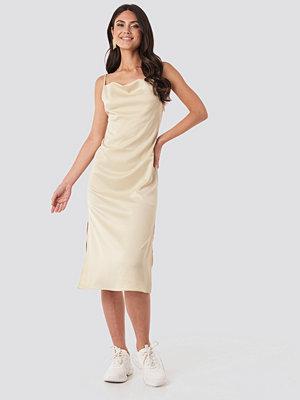 NA-KD Party Satin Midi Slip Dress beige