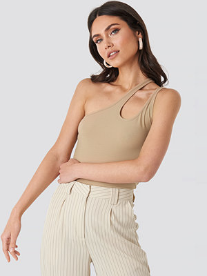 NA-KD Trend Side Striped Top beige
