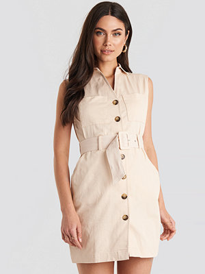 NA-KD Classic Belted Cargo Sleeveless Dress beige