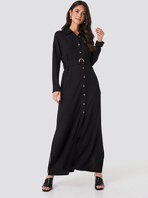 NA-KD Belted Shirt Maxi Dress svart