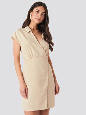 Trendyol Double Breasted Collar Dress beige