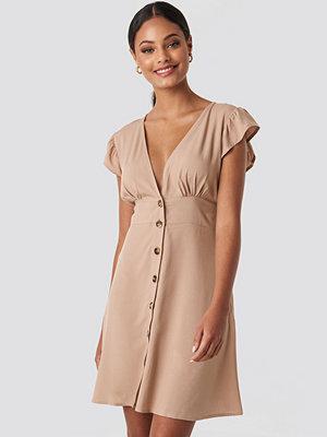 NA-KD Button Up Mini Dress beige