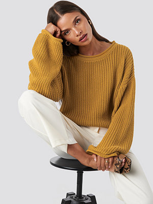 NA-KD Cropped Boat Neck Knitted Sweater gul