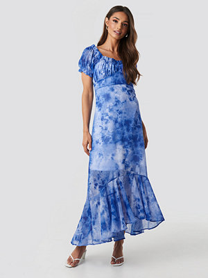 NA-KD Tie Dye Puff Sleeve Maxi Dress blå