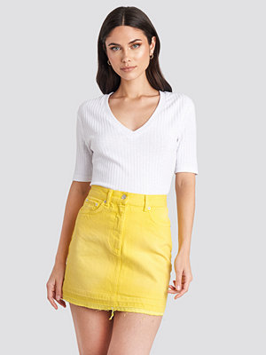 NA-KD High Waist Denim Mini Skirt gul
