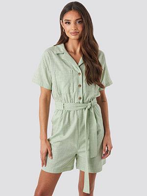 Trendyol Waistband Belted Playsuit grön