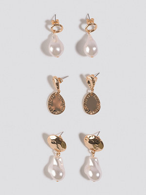 NA-KD Accessories smycke Three Pack Pearl Drop Earrings guld