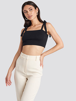 NA-KD Long Bow Tie Crop Top svart