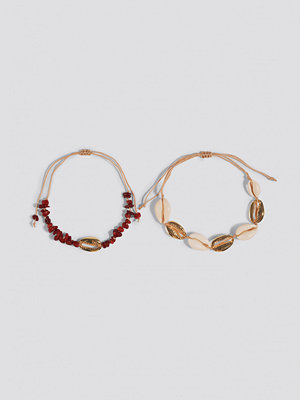 Trendyol smycke Broken Stone and Sea Shell 2-Piece Bracelet röd guld