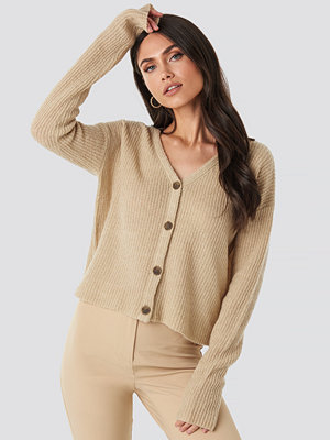 NA-KD Buttoned Knitted Cardigan beige