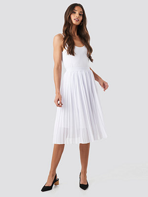 NA-KD Midi Pleated Skirt vit