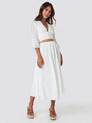 NA-KD Boho Flowy Structured Skirt vit