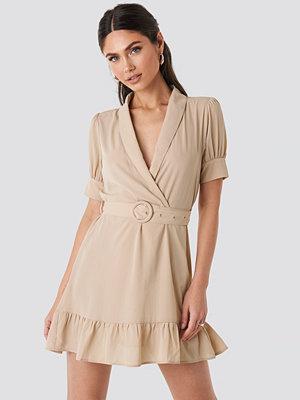 NA-KD Belted Puff Sleeve Mini Dress beige