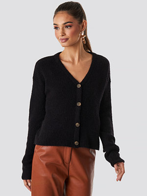 NA-KD Buttoned Knitted Cardigan svart