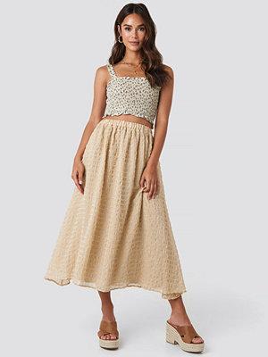 NA-KD Boho Flowy Structured Skirt beige