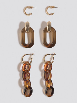 NA-KD Accessories smycke Tortoise Chain Earrings Set (3-Pack) guld