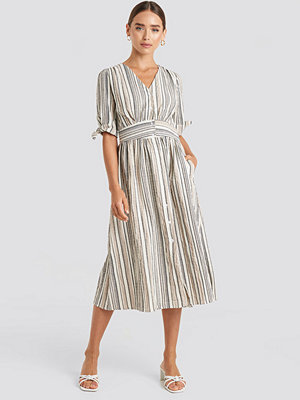 Trendyol Short Sleeve Striped Midi Dress beige /