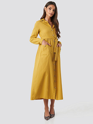 Trendyol Belted Shirt Midi Dress gul