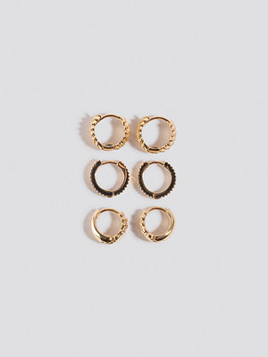 NA-KD Accessories smycke 3-Pack Structured Tiny Hoops guld