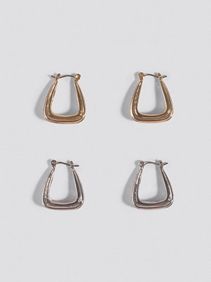NA-KD Accessories smycke Double Pack Structured Triangle Earrings silver guld