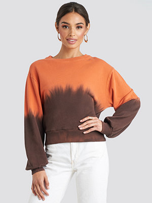 NA-KD Tie Dye Oversized Cropped Sweatshirt brun orange
