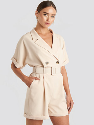 Trendyol Front Button Belted Playsuit beige