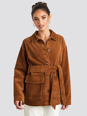 NA-KD Trend Tied Waist Corduroy Jacket brun
