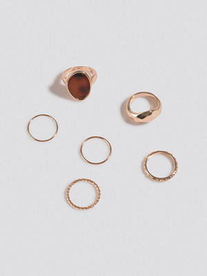 NA-KD Accessories smycke Multipack Signet Stone Ring Set guld