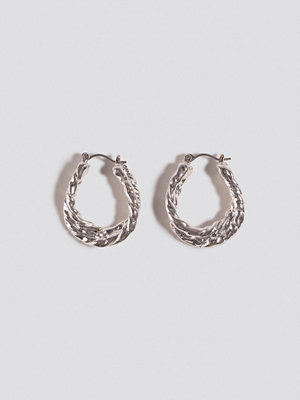 NA-KD Accessories smycke Small Hammered Braided Hoops silver