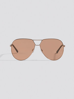 NA-KD Accessories Oversize Wire Frame Sunglasses brun guld
