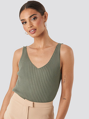 NA-KD V-neck Ribbed Knitted Top grön